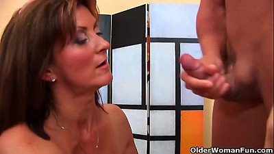naughty milf gets a facial from the boy next door