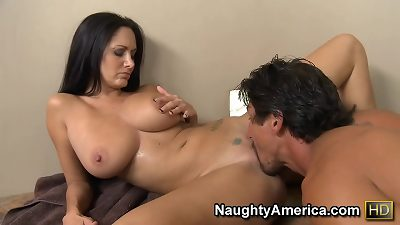 super-naughty America Ava Addams fucking in the pool with her tattoos