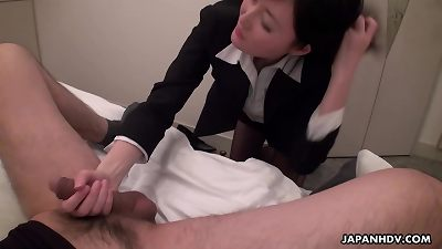 japanese office lady, Emi is deepthroating dick, uncensored