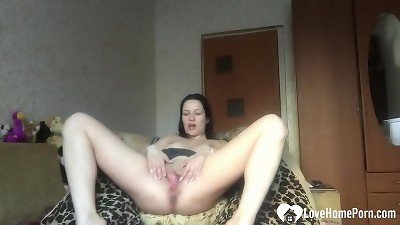 Desirable stepsister displays off her solo skills