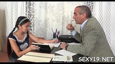 nice darling is offering her love cave for teacher's enjoyment