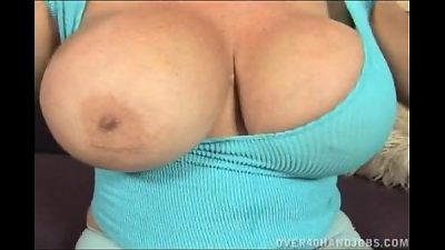 blond granny With humungous hooters handjob
