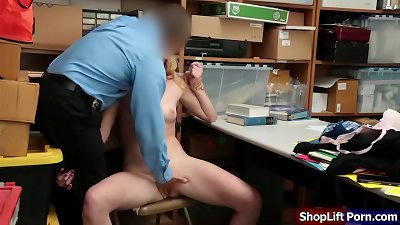 Skinny thief licked n fucked by officer