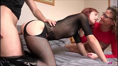 Real German Homemade FFM 3 way with Ginger prostitute nubile and duo